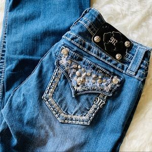 Miss Me Embroidered Studded Boot Cut Jeans 28